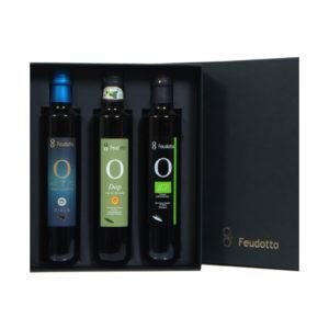 Elegante scatola nera contenente tre bottiglie di olio extravergine da 500 ml