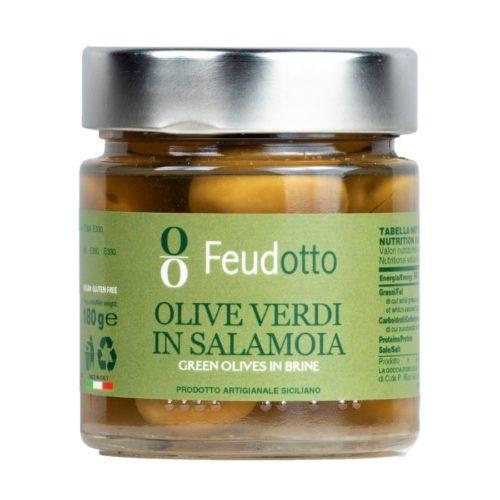 Barattolo da 180 ml di Olive Verdi in Salamoia